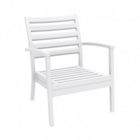"Chaise basse ""Ares"" blanche - Hotelpros"