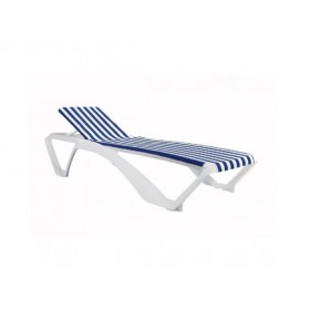 "Chaises longues ""Marina club"" Rayée blanche et bleue - Hotelpros"
